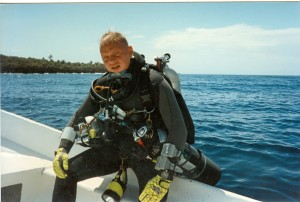 Matt 1995 Roatan before Trimix dive to 350 feet